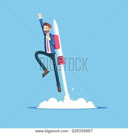 Cheerful Businessman Flying Off With Jet Pack Vector Flat Illustration. Male Office Worker Flying Up