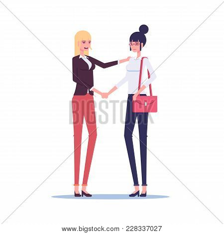 Two Businesswoman Shaking Hands In Greeting Or Cooperation Vector Flat Illustration. Handshake Of Tw