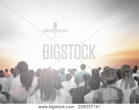 Soft Focus Of Christian People Group Raise Hands Up Worship God Jesus Christ Together In Church Revi