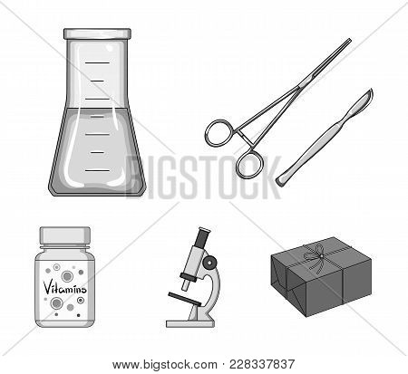 A Bank Of Vitamins, A Flask With A Solution And Other Equipment.medicine Set Collection Icons In Mon