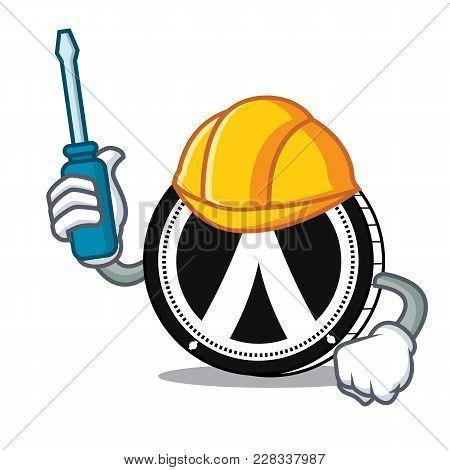 Automotive Dentacoin Mascot Cartoon Style Vector Illustration