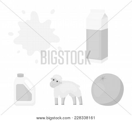 Billet Pack, Sheep.blue, Canister.moloko Set Collection Icons In Monochrome Style Vector Symbol Stoc