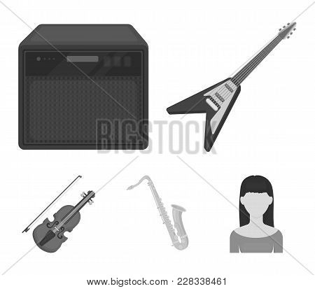Electric Guitar, Loudspeaker, Saxophone, Violin.music Instruments Set Collection Icons In Monochrome