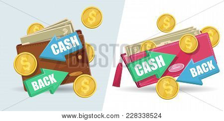 Cash Back Isolated Stickers Set. Man Leather Wallet And Woman Clutch With Money Banknotes And Golden