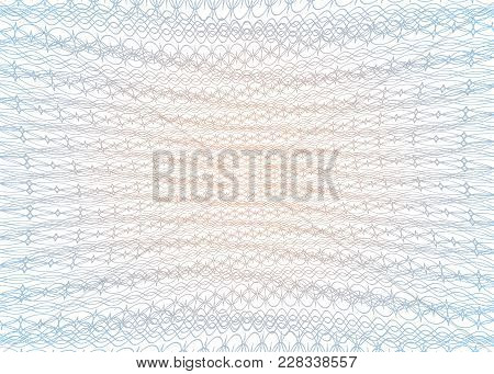 Guilloche Texture Template. Geometric Grid For Certificate, Voucher, Money Banknote, Voucher, Curren