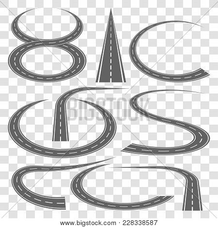 Set Of Curved Highway Tracks With Markings Isolated On Transparent Background. Asphalt Road In Persp