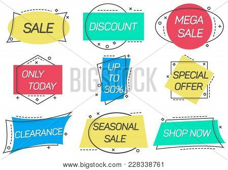 Only Today, Seasonal Sale, Shop Now, Special Offer, Discount, Mega Sale Stickers In Linear Style. Re