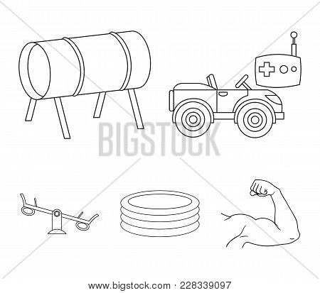 Machine For Radio Control, Tunnel, Trampoline, Swing. Playground Set Collection Icons In Outline Sty