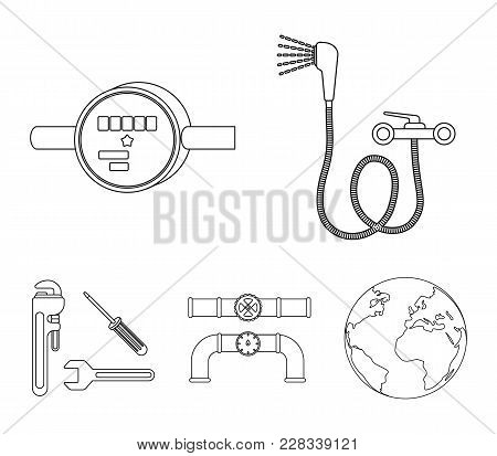Shower, Faucet, Water Meter And Other Equipment.plumbing Set Collection Icons In Outline Style Vecto