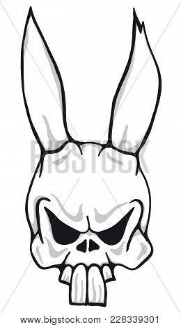 Illustration Of Evil Looking Creepy Easter Bunny Skull