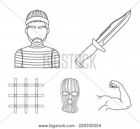 Knife, Prisoner, Mask On Face, Steel Grille. Prison Set Collection Icons In Outline Style Vector Sym