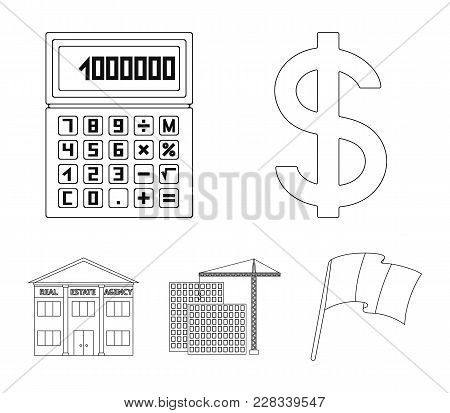 Calculator, Dollar Sign, New Building, Real Estate Offices. Realtor Set Collection Icons In Outline
