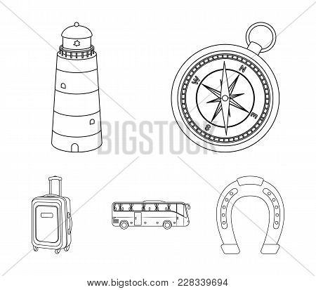 Vacation, Travel, Lighthouse, Compass .rest And Travel Set Collection Icons In Outline Style Vector