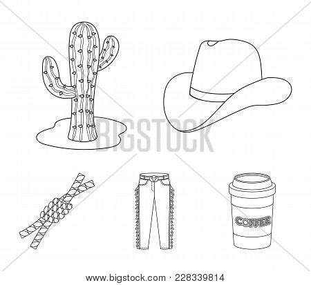 Hat, Cactus, Jeans, Knot On The Lasso. Rodeo Set Collection Icons In Outline Style Vector Symbol Sto