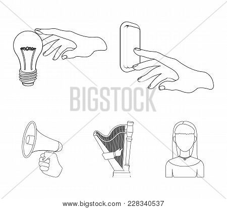 Electric Switch Button, Incandescent Lamp And Other  Icon In Outline Style. Harp Playing, Megaphone