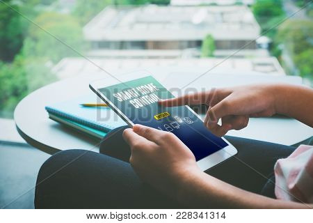 Close Up Hand Of Woman Sitting And Use Tablet App Control Smart Home At House,digital Artificial Int