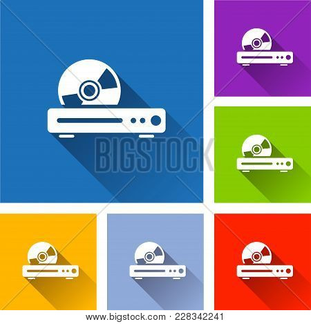 Illustration Of Disk Player Icons With Shadow