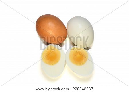 Chicken Boiled Egg And Brown Egg With Shell Isolated On White Background.