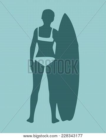 Woman Posing With Surfboard. Monochrome Silhouette. Vintage Surfing Graphic And Emblem For Web Desig