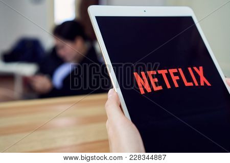 Bangkok, Thailand - February 26, 2018 : Netflix App On Tablet Screen. Netflix Is An International Le
