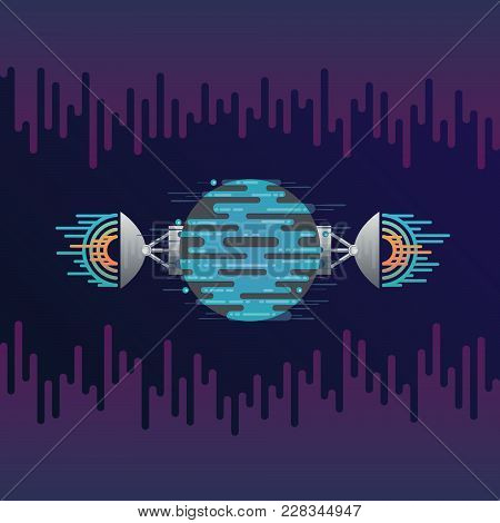 Vector Illustration Of Sci-fi Planet In Space And Radar Dish Station With Sound Or Radio Wave. Abstr