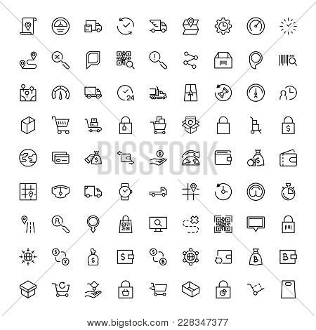 Electronic Commerce Flat Icon Set . Single High Quality Outline Symbol Of Info For Web Design Or Mob