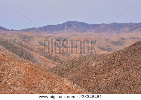 Spanish Desert View Landscape In Fuerteventura Tropical Volcanic Canary Islands Spain