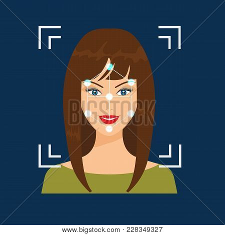 Biometrical Identification. Facial Recognition System Concept. Vector Illustration