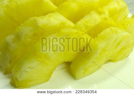 Pineapple Half. Pineapple Slice Isolated On White. Pineapple With Leaves. Full Depth Of Field