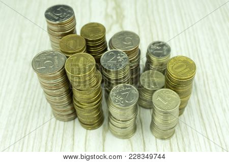 Pile Of Coins And Coin Pyramid Investment Isolated, Jackpot