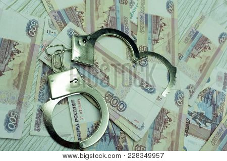 Handcuffs On Money Shackles Shiny Sign Silver