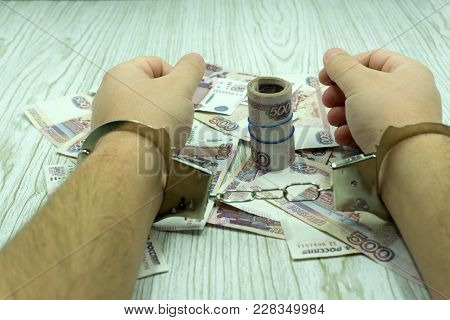 Arrested For Bribery. Caught Red-handed. Bribe - Stock Image
