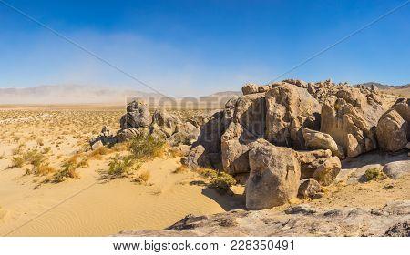 Panorama Of Boulder Pile In Desert