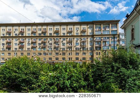 Moscow, Russia - July 24. 2017. Stalin House At Prospect Mira Street 46