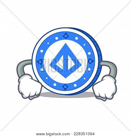 Angry Loopring Coin Mascot Cartoon Vector Illustration