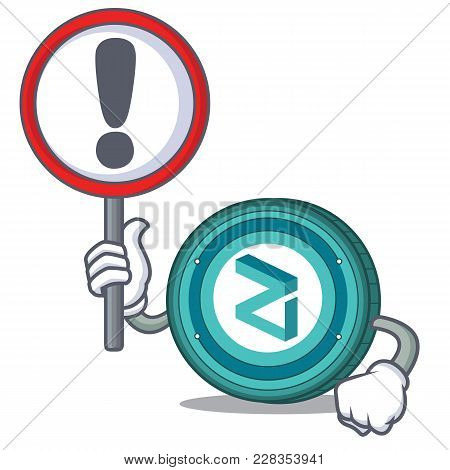 With Sign Zilliqa Coin Character Cartoon Vector Illustration