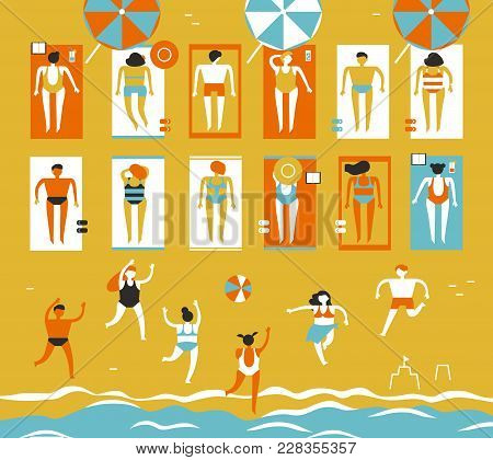 Men And Women In Bathing Suits Sunbathe On The Beach And Play Beach Volleyball. Trend Abstract Flat