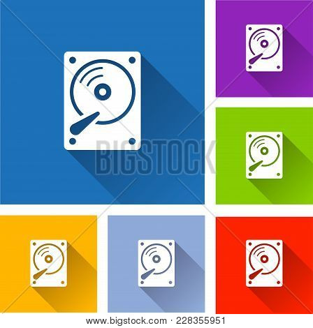 Illustration Of Hdd Icons With Long Shadow
