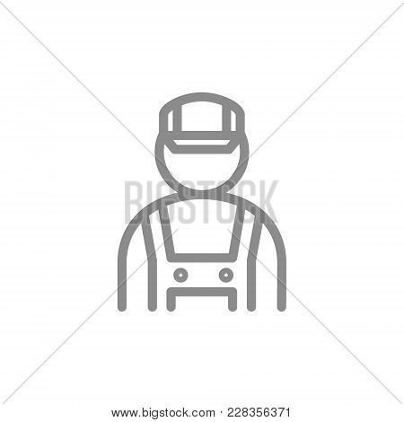 Simple Mechanic, Fitter, Engineer Line Icon. Symbol And Sign Vector Illustration Design. Isolated On