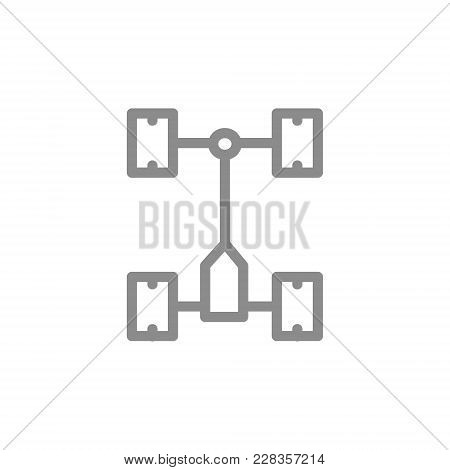 Simple Car Chassis, Undercarriage Line Icon. Symbol And Sign Vector Illustration Design. Isolated On