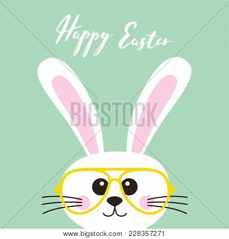 Happy easter bunny nerd character vector photo bigstock happy easter bunny nerd character with funny nerd glasses isolated on blue background easter greeting card invitation with white cute rabbit m4hsunfo