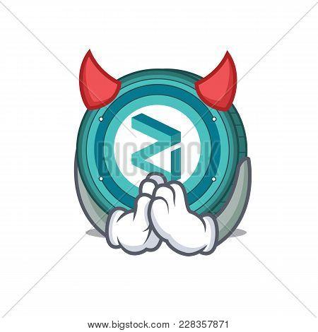 Devil Zilliqa Coin Macot Cartoon Vector Illustration