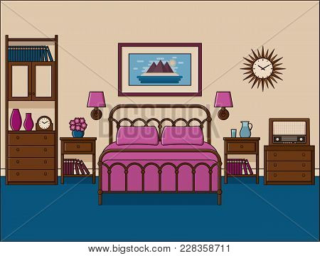 Bedroom Retro Interior. Vector. Hotel Room In Flat Design With Double Bed. Home Space In Line Art. O