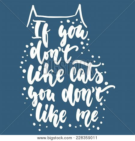 If You Don't Like Cats, You Don't Like Me - Hand Drawn Lettering Phrase For Animal Lovers On The Blu