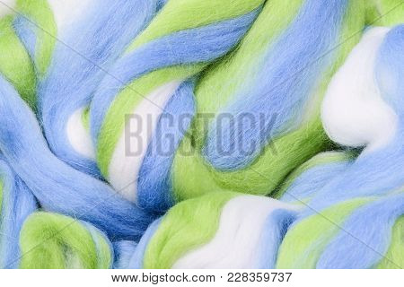 Bright Colored Merino Wool For Felting And Needlework, Hobby. The Stripes Of White, Blue And Green Y