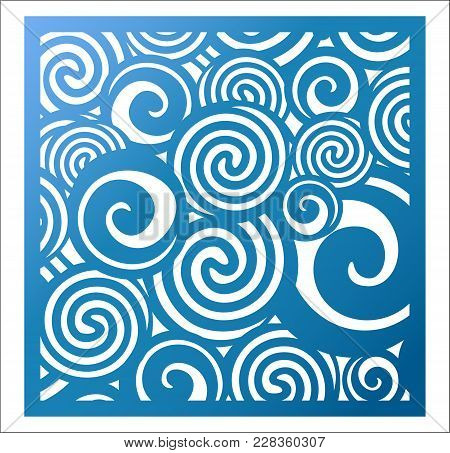 Laser Cutting Square Panel. Fretwork Abstract Pattern With Curly Swirl Circles. Favor Or Gift Box Si