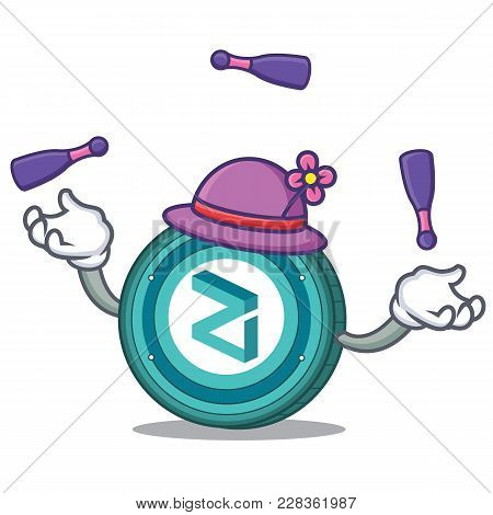 Juggling Zilliqa Coin Macot Cartoon Vector Illustration