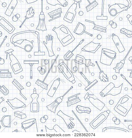 Seamless Pattern On The Theme Of Cleaning And Household Equipment And Cleaning Products, Blue  Conto