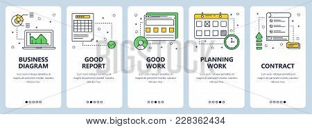 Vector Set Of Vertical Banners With Business Diagram, Good Report, Good Work, Planning Work, Contrac