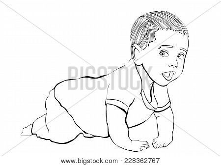 Crawling Baby Vector Outline Hand Drawing, Coloring, Sketch. Black And White Cartoon Small Child Cra